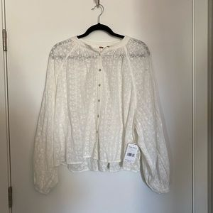 Free people long sleeve white top
